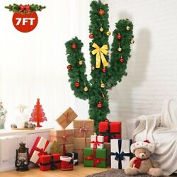 5' Artificial Cactus Pvc Christmas Tree With Led Lights And Ball Ornaments Cy