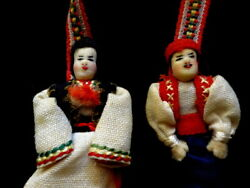 Vintage Traditional Balkan Bulgarian Connected Couple Costume Dolls C 1950s