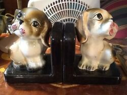 Vintage Pair Of 2 Japan Ceramic Dog Sad Eyes Puppy Bookends Figurines Statues