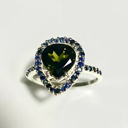 1.8ct Natural Forest Green Tourmaline 925 Silver 9ct 14k 18k Gold Halo Ring
