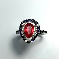 1.4cts Natural Red Rhodonite 925 Silver /14k 18k Gold Platinum Halo Ring