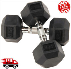 Hex Weights Rubber Encased Dumbbell Pair 25lb 30lb 40lb Exercise Gym Barbells