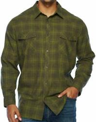 THE FOUNDRY CO. BUTTON DOWN MEN#x27;S PLAID SHIRT OLIVE OMBRE CHOOSE SIZE