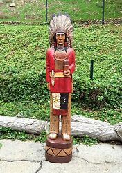 John Gallagher Carved Wooden Cigar Store Indian 5 Ft. Red Coat Bear