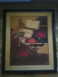 Hudson River Inlay Wood Art Marquetry Piano Concerto, 35 X 29