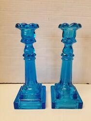 Pre Owned Pair of Blue Pressed Glass Candlestick Holders 9 1 4quot; Tall EUC