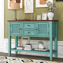 Retro Console Table Sideboard With 2 Storage Drawers And Bottom Shelf