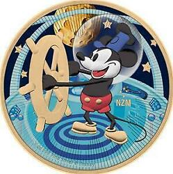 Niue 2017 2 Steamboat Willie Flying To The Moon 1 Oz Silver Gilded Coin