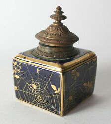 19th Century Coalport Ink Well, Cobalt Blue With Hand Painted Gilt Spiders