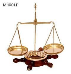 Antique Brass Polished Balance Scale with Wooden Ships Wheel Base Jewelry NEW