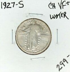 1927-s Standing Liberty Silver Quarter Ch/vf+ Luster Nice Coin