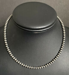 Sterling Silver 4mm 14 Inch Navajo Pearls Bead Necklace.