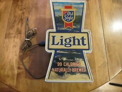 Vintage Heilemans Old Style Beer Light Sign Lighted Waterfall Bar Advertisment