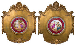 Antique Rare 19th Austria Large Pair Wall Panels In Royal Vienna Style Marked