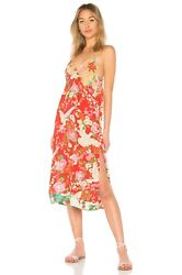 NWT SPELL amp; THE GYPSY COLLECTIVE DELILAH PATCHWORK SLIP DRESS in RUBY SZ SMALL