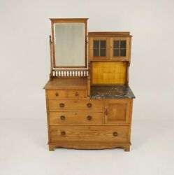 Arts And Crafts Ash Marble Vanity, Dressing Chest Washstand, Scotland 1900, B2164