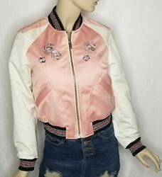 Coach Womens Pink Crush Floral Embroidered Cropped Baseball Jacket F67471 Size S