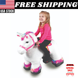 6 Volt Stable Buddies Willow Unicorn Plush Ride-on Light Up Horn And Play Stable