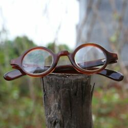 New Indian Water Buffalo Horn Round Eyeglasses Frames Size 39-27-145 Rare