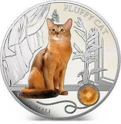 Fiji 2013 2 Fluffy Cat Ii Somali Dogs And Cats 1oz Silver Coin