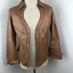 Alan Michael Women's Brown Leather Jacket L Western Cowgirl Snap Front $207.00
