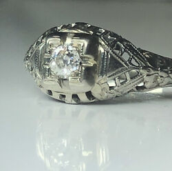 Antique Art Deco Old Miner Diamond 18kt White Gold Engagement Ring Look