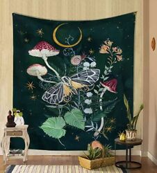 Wall Tapestry Bohemian Moth Snail Butterfly Mushroom Witchy Moon Cottagecore