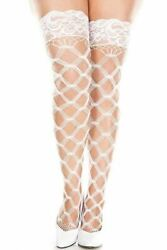 Unisex Large Fence Net Stockings With Lace Top White