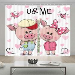 Purity Change Pink Pig 3d Curtain Blockout Photo Printing Curtains Drape Fabric