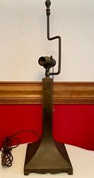Antique Mission Arts And Crafts Copper Electric Table Lamp Bryant Two Light Chain