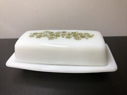Vintage Pyrex White With Green Flowers Milk Glass Butter Dish 29 72-b