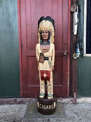 John Gallagher Carved Wooden Cigar Store Indian 6 Ft.tall Statue Very Detailed