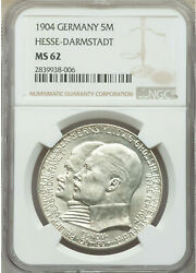 German States Hesse-darmstadt 1904 5 Mark Coin Silver Philipp Ngc Ms 62