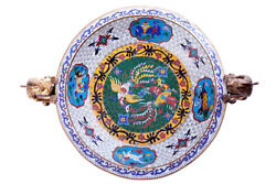 Vintage Antique Cloisonne Bowl With Bronze Handles In Form Mythical Animals 17cm