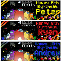 2 Personalised Among Us Birthday Banners Kids Game Console Party Decorations