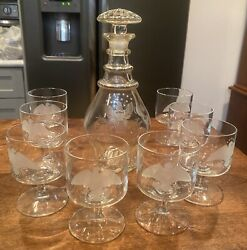 Vintage Liquor Set/ Decanter And 8 Glasses Frosted Us Eagle With Stars Military
