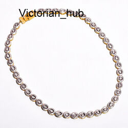 Antique Victorian Diamond Polki Necklace 925 Sterling Silver Fine Gifts Jewelry