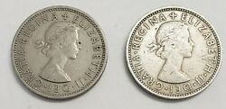1961 And 1967 Uk Great Britain 2 Shillings Double Rose Coins