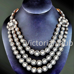 Handmade Victorian Three Line Necklace Jewelry Solid 925 Sterling Silver