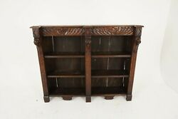 Antique Victorian Gothic Carved Oak Library Open Bookcase Scotland 1880 B2208