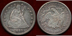 1888-s 25c--rare Mint Double Strike On S Liberty Seated Quarter ++