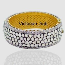 Victorian Pave Rose Cut Diamond Polki Bangle Solid 925 Sterling Silver Jewelry