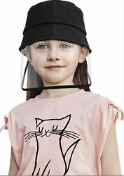 Kids Transparent Anti Droplets Black Bucket Hat Outdoor Face shield $6.99