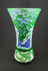Exceptional Signed And Numbered Kelsey/bomkamp Gala Cameo Art Glass Vase 10.5