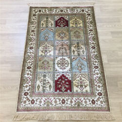 Yilong 2.5'x4' Four Seasons Hand Knotted Silk Carpet Home Interior Rug 178a