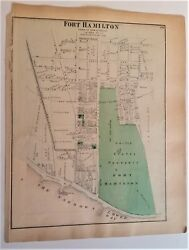 ANTIQUE BROOKLYN FORT HAMILTON WALL MAP Kings Cty Post Civil War NEW UTRECT