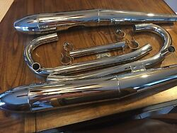 Vintage Bmw New Complete Chrome Exhaust Package /5 W/cigar Mufflers