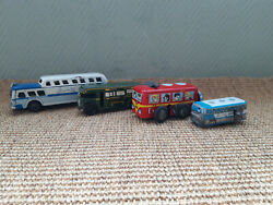 3 Old Vintage Litho Tin Buses Wells, Sss, Canto Toys, Greyhound All Working