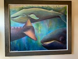 Oil Painting Nautical Maritime Whales Signed By Artist