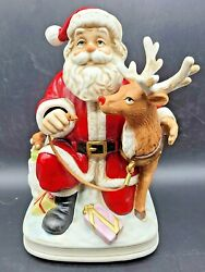 Rare Melody In Motion 1996 Santa And Rudolph Annimated And Musical Ceramic Figurine